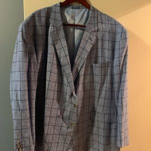 Blue and navy blue linen sports jacket